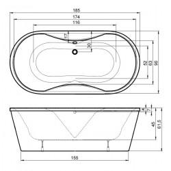 Vrijstaand whirlpool / bubbelbad Feed 185